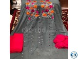 Unstitched Three Piece embroidery Ash Color Salwar kameez fo