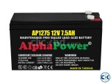 AlphaPower Battery 12V 7.5Ah 20HR for UPS Made in Taiwan