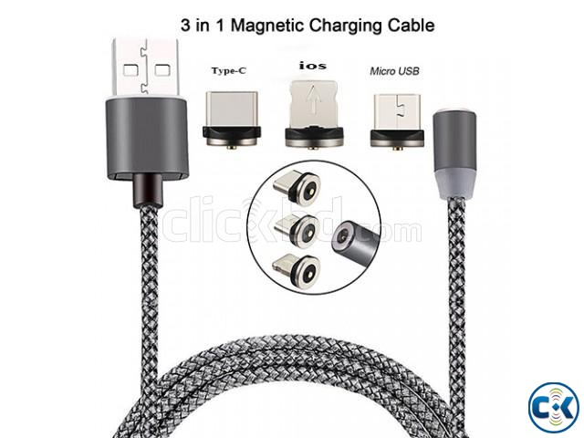 3 in 1 Metal Magnetic Cable for micro USB Type-C Android | ClickBD large image 2