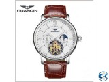 GUANQIN Tourbillon Skeleton Leather Mechanical Wrist Watch