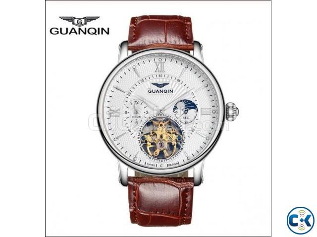 GUANQIN Tourbillon Skeleton Leather Mechanical Wrist Watch | ClickBD large image 0