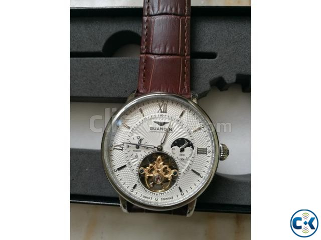 GUANQIN Tourbillon Skeleton Leather Mechanical Wrist Watch | ClickBD large image 1