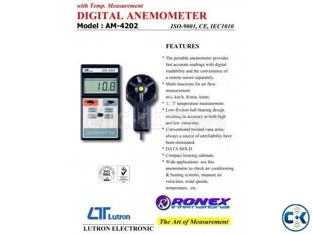 Lutron AM-4202 Electronic Digital Anemometer in Bangladesh | ClickBD large image 2