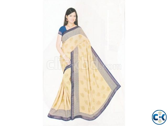 Stylish Indian Georgette Saree With Blouse Piece | ClickBD large image 0