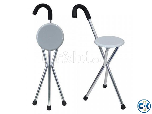 Foldable Walking Stick Cum Chair | ClickBD large image 0