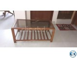 Shegun Wooden centre Table with glass for Drawing room