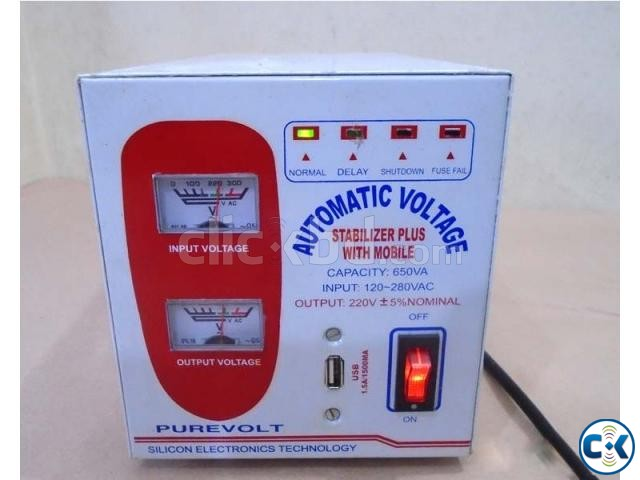 VOLTAGE STABILIZER 650VA WITH USB | ClickBD large image 0