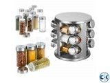 12pcs Stainless Steel Revolving Spice Jar
