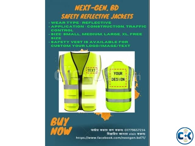 High Reflective Visibility Safety Vest Custom Your Logo  | ClickBD large image 1