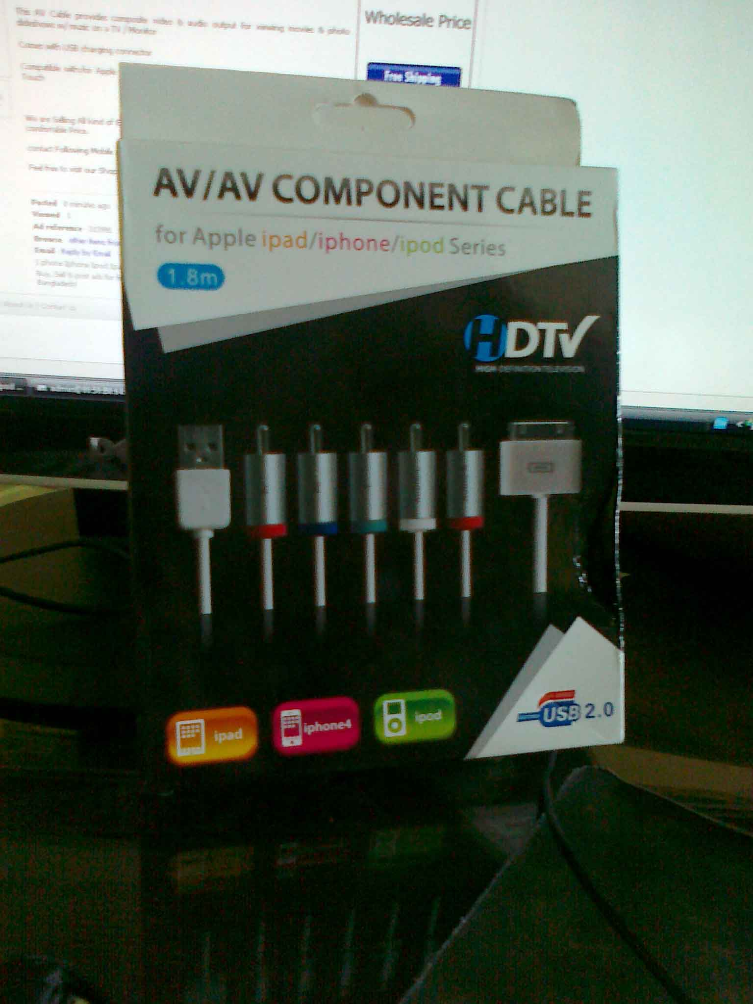 I phone Iphone Ipod Ipad AV TV USB Video Cable | ClickBD large image 0