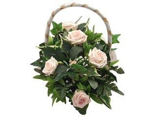 Pink Roses with Basket