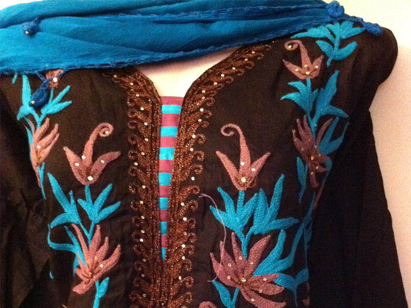 Black Embroidery Kameez with shiffon Dupatta | ClickBD large image 0
