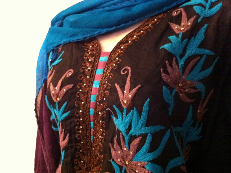 Black Embroidery Kameez with shiffon Dupatta | ClickBD large image 2