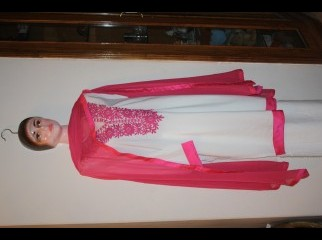 White kashmilan Kameez with Pink Embroidery.