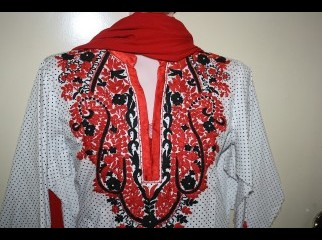Red and Black combination Embroidery kameez.