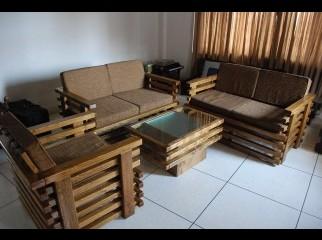 A new wooden sofa set