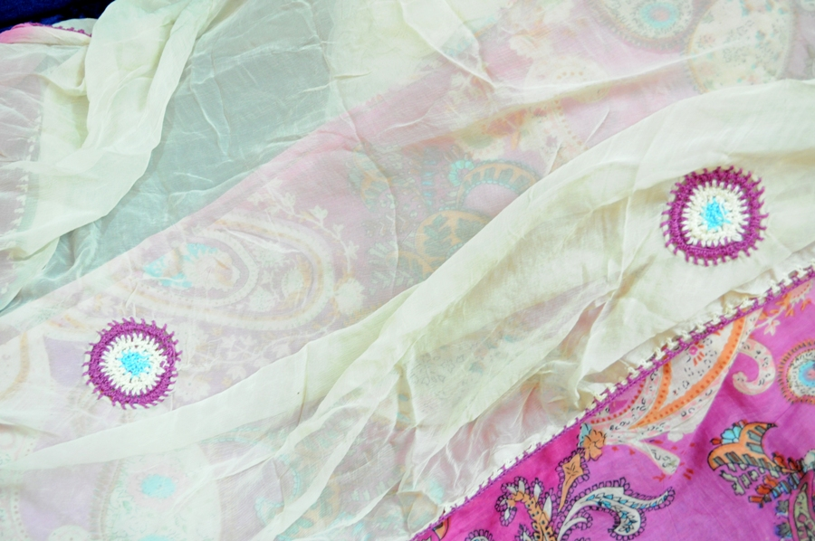 3 piece pink Cotton printed embroidered suit for sale | ClickBD large image 0