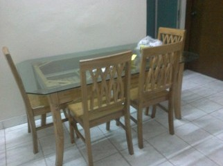 Square Glass Top Dinning Table with 6 chairs