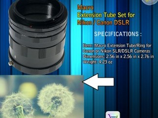 MACRO EXTENSION TUBE RING FOR CANON OR NIKON SLR DSLR CAMERA