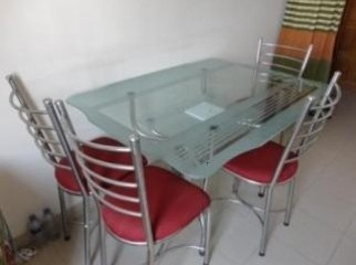 Glass Dining Table With Four Chair.