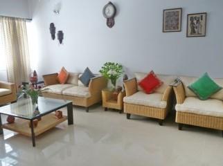 Indonesian Cane and Walnut wood Sofa set
