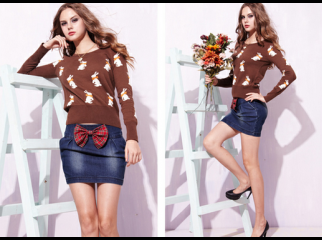2012 Women s Bowtie Sweet Stereoscopic Blue Jeans Skirt