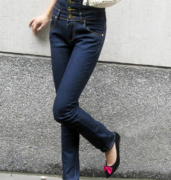 Women s High Waist Single-breasted Tight Boot Cut Jeans Pa   ClickBD