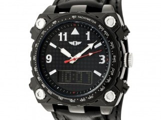 Invicta Black Leather Analog Digital Watch