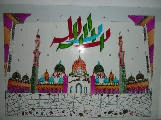Glass Paintings Mosque n Calligraphy