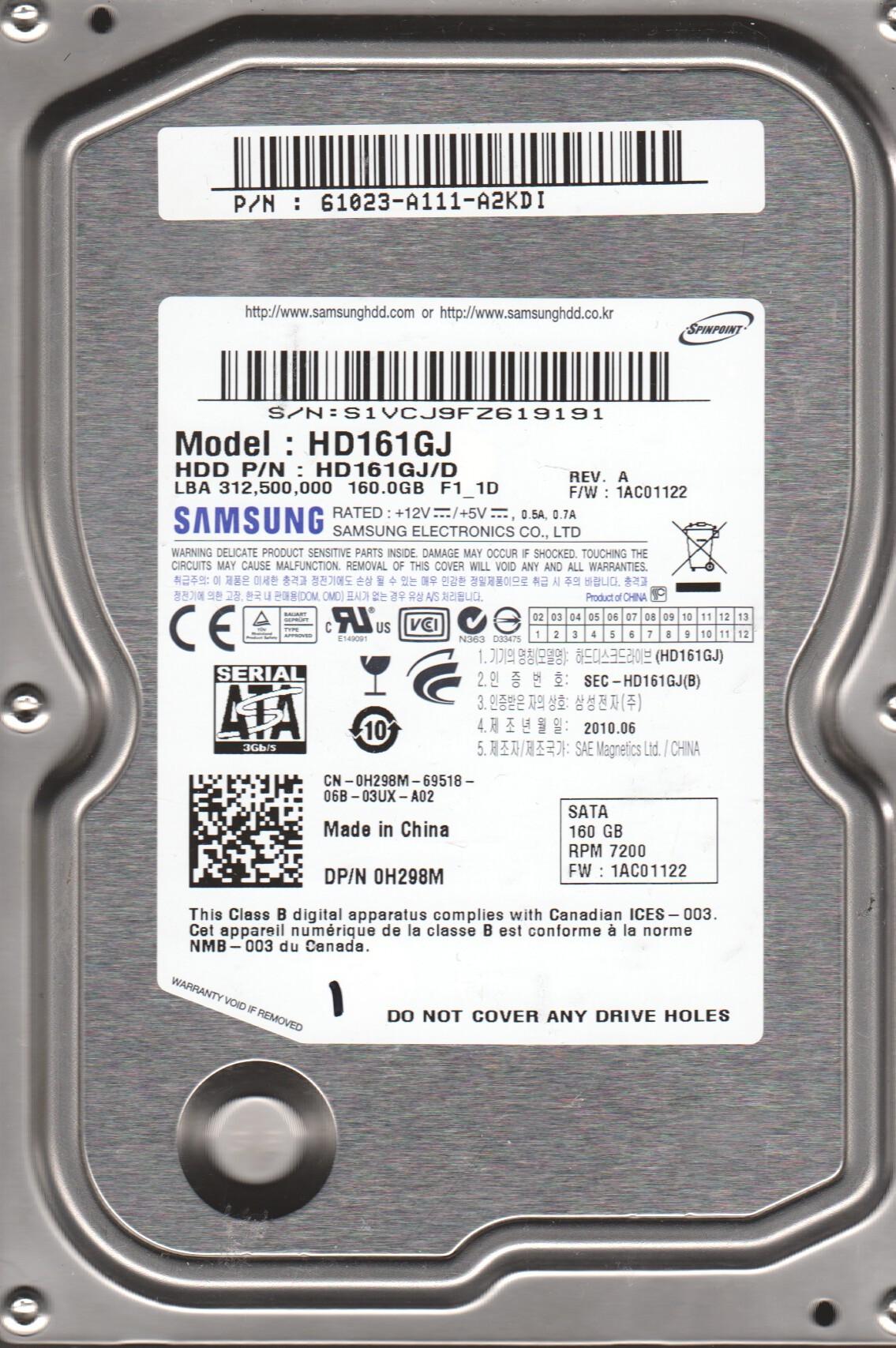 Samsung Hd161gj Internal 160 Gb 7200rpm Hard Disk Clickbd Hdd Sata Like New Large Image 0