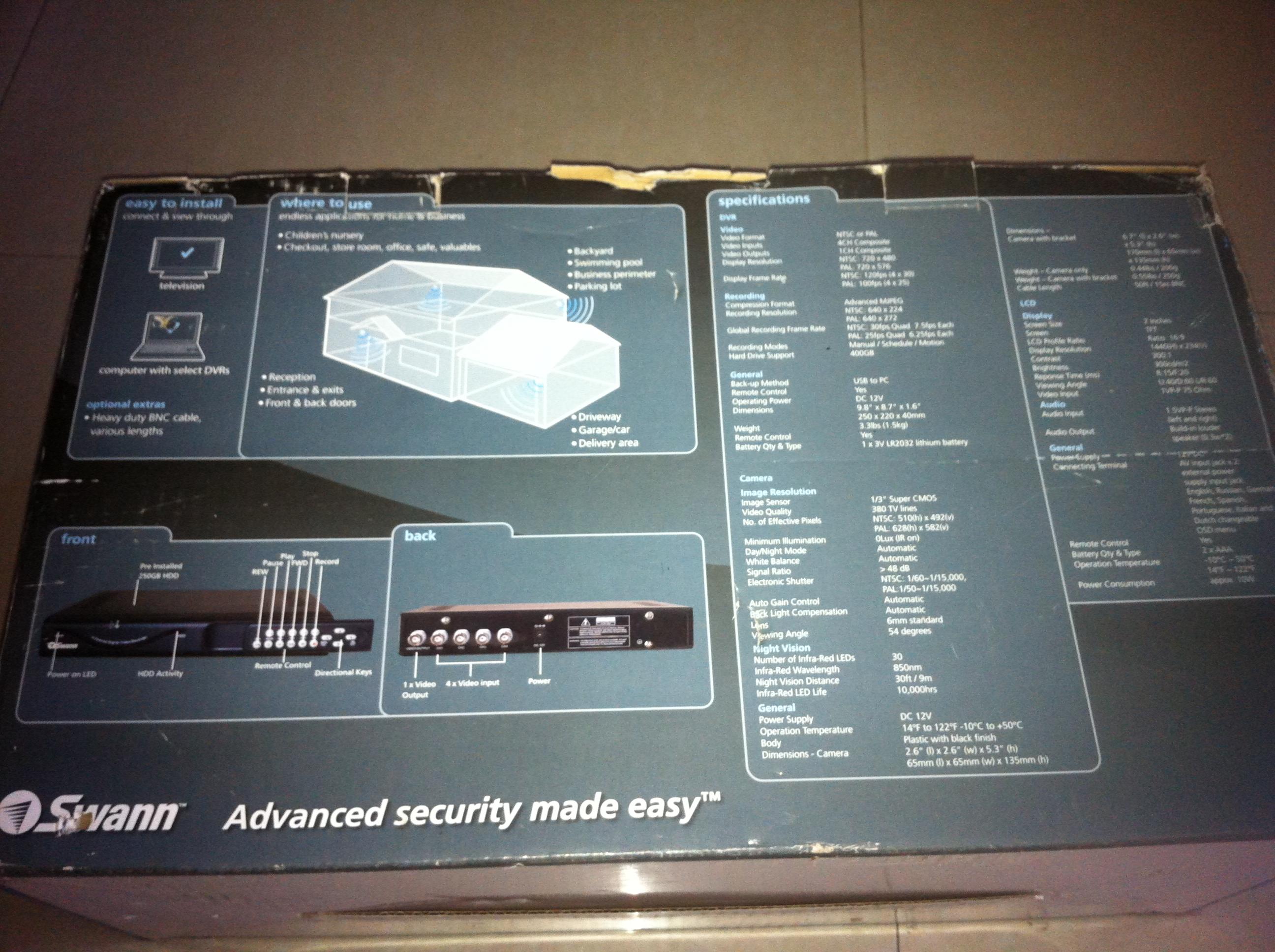 SWANN CCTV COMPLETE SECURITY SYSTEM MODEL DVR4-1060