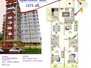 Luxurious 1273 sft Ready Apartment at Malibagh Gulbagh .