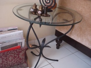 Side table steel made glass top