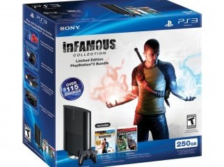 Play Station 3 250GB intact with Uncharted Infamous games