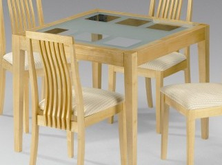 Wooden glass top 4 chair dining table