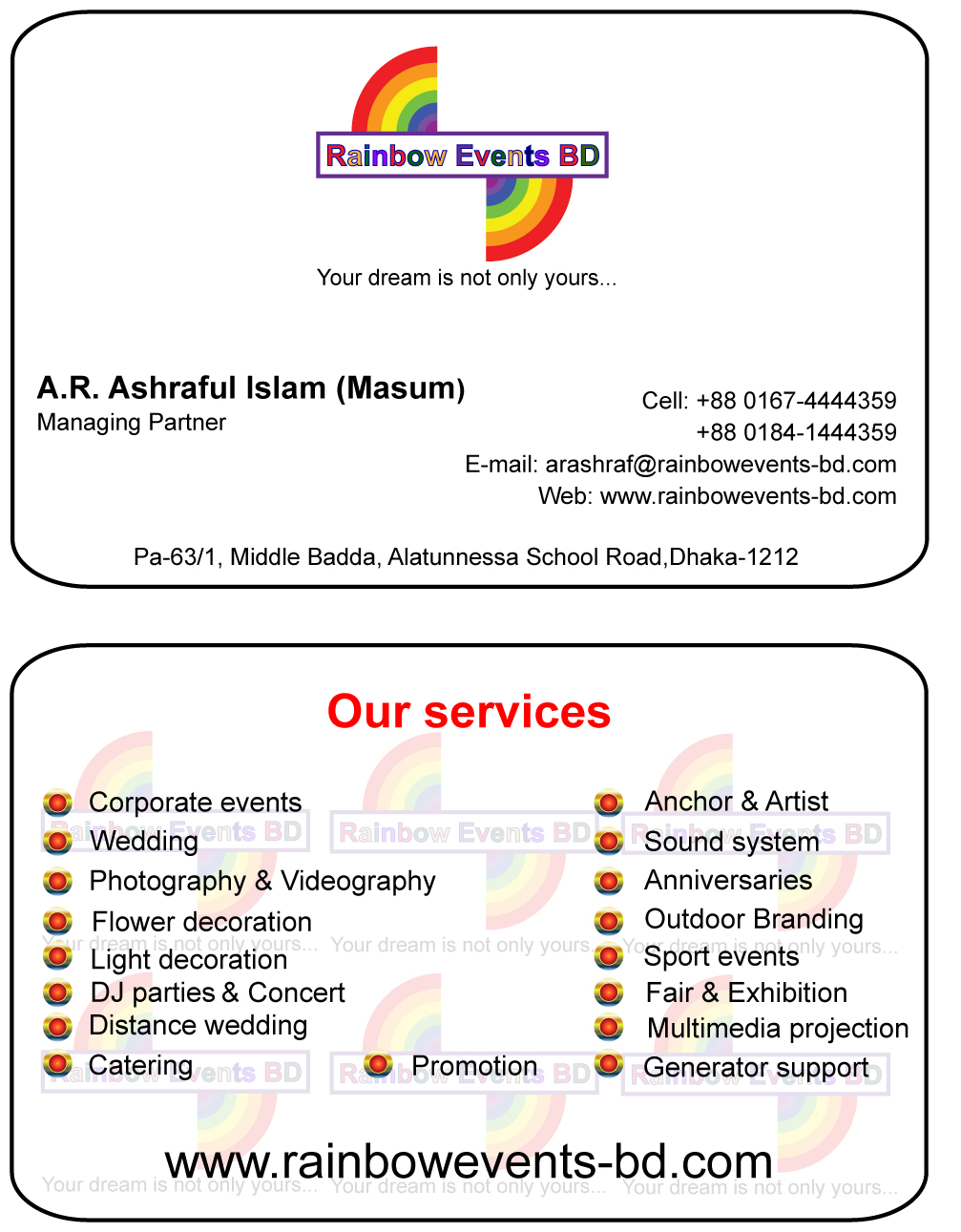 Rainbow Events Bd An Exclusive Event Management Firm Clickbd