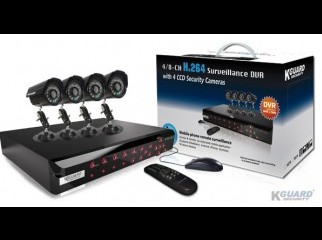 KGUARD 4CH H.264 DVR with 4 CCD Cameras