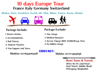 Multiple tour France Italy Germany Switzerland